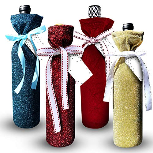 Deluxe Wine Bags- Velvet and Sparkle Stretch Fabric - Set of 4 with Bows and Gift Tags | No More Paper Bags! Reusable & Ecofriendly - Make Your Bottle Look Special