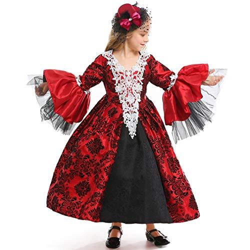 Tesaluoni Gothic Vampierjurk voor meisjes, lange mouwen, court middernacht koningin prinses middeleeuwse Lolita baljurk, cosplay lange jurk, avond-party-cocktailjurk
