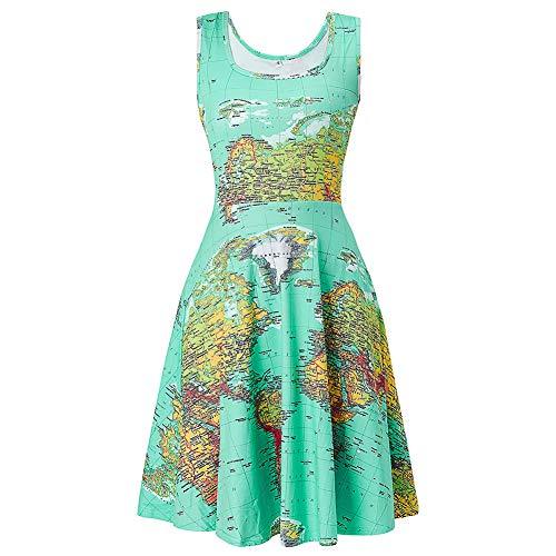 Fanient Womens World Map Print Dress Summer Fun Dress A Line Sleeveless Vintage Sundress M