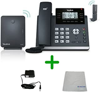 Global Teck Bundle of Yealink W41P Wireless Desk Phone Kit, T41S Phone, DD10K Dongle, W60B DECT Base, Power Supply, Microfiber Cloth, Require IP Service - Fuze, Vonage, Ring Central, 8x8, Cloud IP
