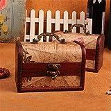 XBSXP Maletas Decorativas Vintage Juego de 2 Cajas Vintage Caja de Almacenamiento con patrón de Sello Caja de Madera pequeña para joyería Ideas de Regalo Baúl de Almacenamiento (Color: S