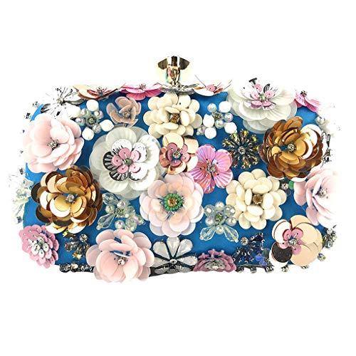 Deloito Damen Blumen Schmuck Kupplungen Handgemacht Kette Clutch Tasche Abendtasche Hochzeit Umhängetaschen Bankett Party Handtasche (Blau)