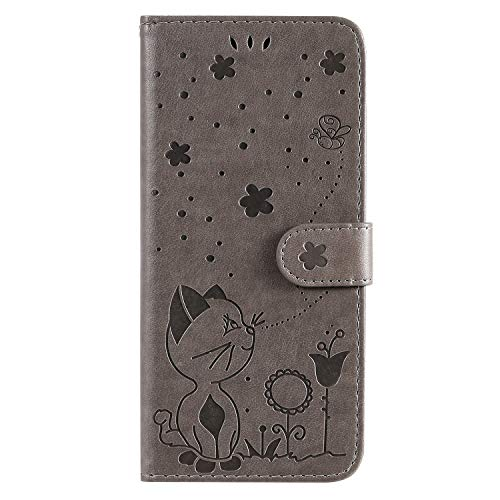 Thoankj für Huawei Y6 2019 Handyhülle Katze Biene, Huawei Y6s Hülle Stoßfest PU Leder Flip Notebook Wallet Case mit Kickstand Credit Card Slot Holder TPU Bumper Folio Schutzhülle Grau