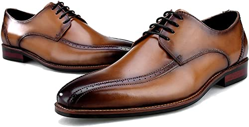 LYMYY zapatos Oxford de negocios informales para hombres zapatos con cordones clásicos con vestido formal de cuero cosido a mano zapatos sociales