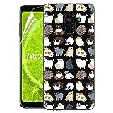 OKZone Cover Galaxy A8 2018 [con Pellicola Proteggi Schermo], Custodia Gel Trasparente Morbida Silicone Sottile TPU Cover Protettiva Compatibile con Samsung Galaxy A8 2018 (Gatto)