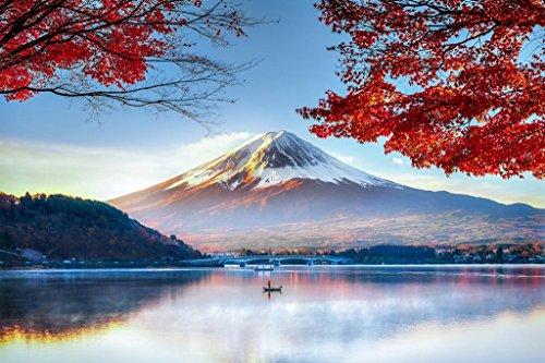 Mount Fuji Honshu Island Japan in Autumn Photo Art Print Poster 36x24 inch