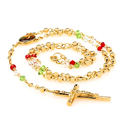 Lifetime Jewelry Rosary Necklace [ Colorful Crystal Prayer Beads ] 20X More 24k Plating Than Other Chains - Catholic Jesus Crucifix and Virgin Mary - Lifetime Replacement Guarantee 20-22 inches