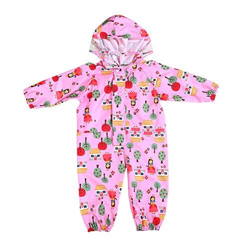 GUOCU Kinder Regenanzug Wasserdicht Jungen Mädchen Regenoverall Regenjacke Overall Pink S (1-3 Jahre alt)
