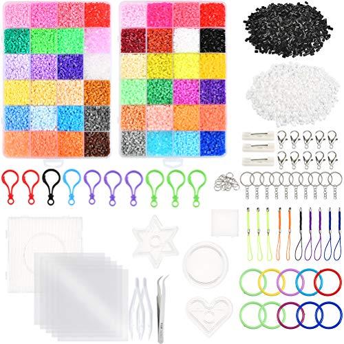 WOWOSS 25000 Cuentas de Planchar de 2,6 mm 48 Colores, Kit de Cuentas y Muchos Accesorios para Actividades Creativas y Manualidades Infantiles