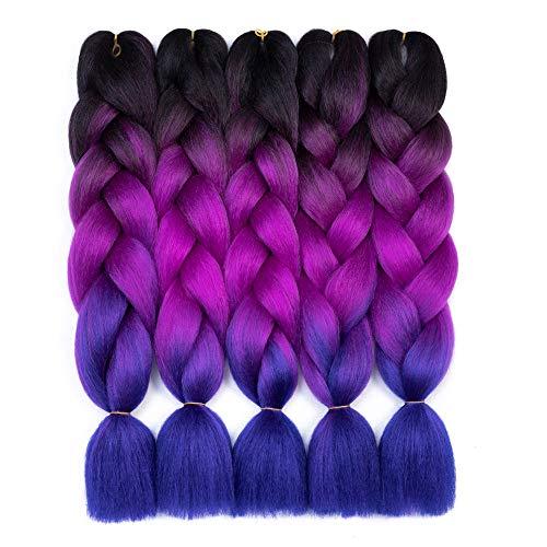 Synthetic Braiding Hair Extensions Kanekalon Hair Ombre Twist Braiding Hair High Temperature Hair Extensions 24' (60CM) 5Pcs/Lot 100g/Pc(Black-Purple-Blue)
