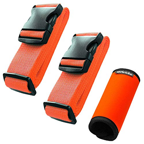 Hibate (2_Orange) Luggage Straps Belts and (1_Orange) Neoprene Suitcase Handle Wrap Grip Tags