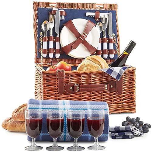 Weidenkorb Picknickkorb Picknickkoffer Set Mit Besteck Geschirr Gläsern & Fleecedecke Für 4 Personen Partys Im Freien 42 * 31 * 23cm
