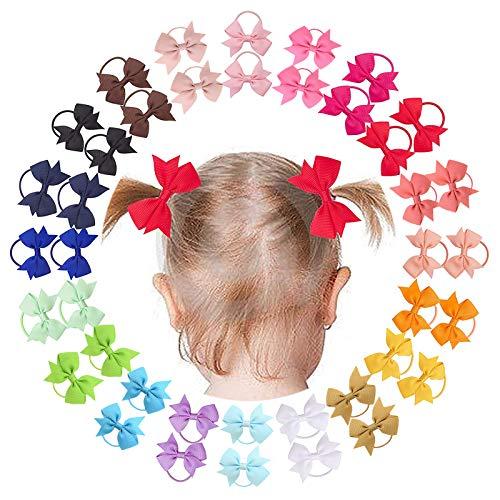 40 pcs 2 pouces bébé filles cheveux arcs élastiques à cheveux petits cheveux Barrettes ruban gros-grain bande de cheveux titulaire de queue de cheval pour les tout-petits nourrissons enfants
