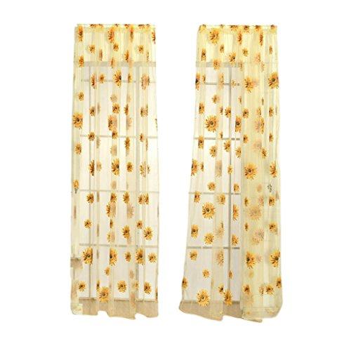 MagiDeal 100 * 200cm Sonnenblumen Blumen Muster Transparent Voile Vorhang Vorhänge Platte Schiere Tulle Drapieren - Gelb, 100 x 200 cm