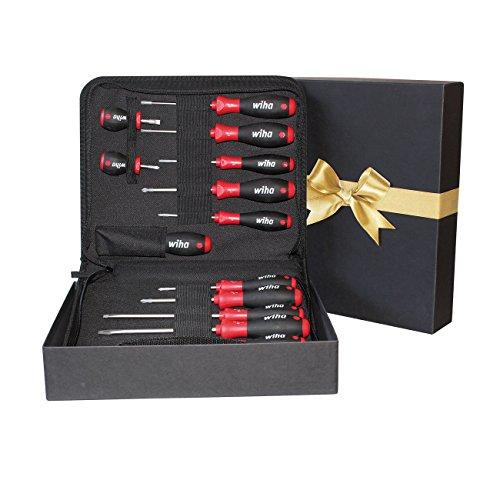 Wiha Schraubendreher Set 14-tlg. in hochwertiger Geschenkbox inkl. 13 Wiha Schraubendreher und Flasc