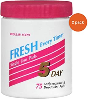 5 Day Antiperspirant and Deodorant Pads, Regular Scent - 75 Each (Pack of 2)
