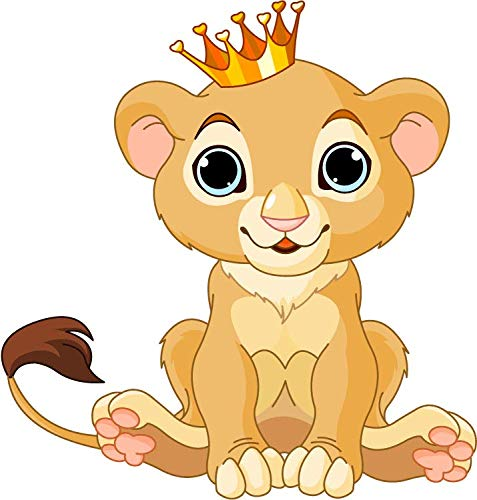 Lion King Funny Animal Cartoon Window Truck Car Bumper Sticker Decal 5' x 5'