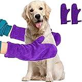 YANGWX - Set di 2 guanti in microfibra per asciugare i peli di cane o gatto dopo il bagno, assorbono l'umidità e si asciugano velocemente