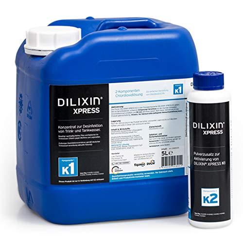 DILIXIN® Xpress 5 Liter, Legionellenbekämpfung, Desinfektion von Trinkwasser, Chlordioxid 0,3% ig, Wirksamkeitstest nach DIN EN 13623, 1276 und 1650, inkl. Entgasungsverschluss