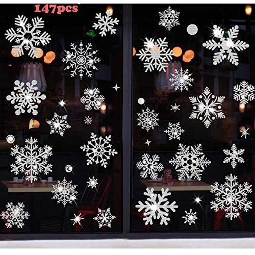 Movein Fensterbilder Navidad, 147 unidades de copos de nieve adhesivos reutilizables PVC para decoración de ventanas de Navidad, puertas, escaparates, vitrinas, vidrios (Sliver)