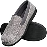 Hanes Men's Slippers House Shoes Moccasin Comfort Memory Foam Indoor Outdoor Fresh IQ (Medium (8-9), Grey)