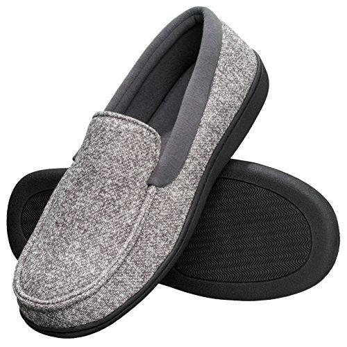 Hanes Men's Slippers House Shoes Moccasin Comfort Memory Foam Indoor Outdoor Fresh IQ (X Large (11-12), Grey)