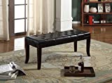 Roundhill Furniture Linon Espresso Leather Tufted Ottoman Bench, Espresso