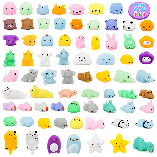 YIHONG 72 Pcs Kawaii Squishies Mochi Squishy Toys for Kids Party FavorsMini Stress Relief Toys for Birthday GiftClassroom PrizeGoodie Bag