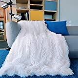Faux Fur Throw Blanket 50''x60'',YST Queen Soft Fluffy Blanket Plush Cozy Blankets,Fuzzy Comfy Microfiber Reversible Long Hair Shaggy Blankets for Bed Couch Sofa Chair Decorative(White)