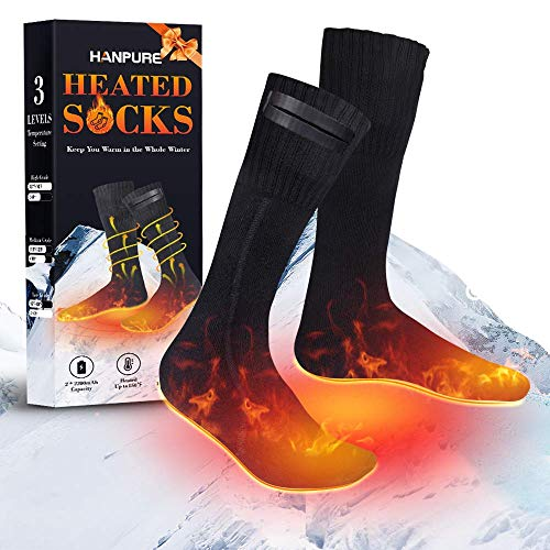 HANPURE Heated Socks, Heating Settings Thermal Sock for Men Women, Rechargeable Battery Heated Socks Winter Skiing Hunting Camping Hiking Driving Warm Cotton Socks