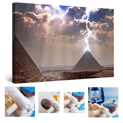 Eco Light Wall Art Bundle Sur Toile Derrière Lightning pyramides d'Égypte 80 x 120 cm pour décoration intérieure et Charmante de salle de bain Spa Collage Lot de 4 encadrée des illustrations pour décoration intérieure