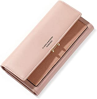 Trifold Wallet for Women Clutch Long Wallet Ladies Phone Purse with Credit Card Holder
