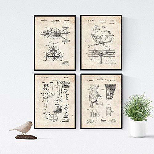 VINTAGE - Pack de 4 láminas con PATENTES de JUGUETES INFANTILES. Set de posters con inventos y patentes antiguas. Elije el color que más te guste. . Nacnic