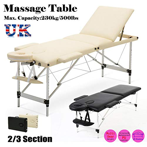 Aluminium Vouwen Massage Tafel Salon Therapie Bank Bed 2 Sectie Massage Tafel Draagbare Tattoo Salon Reiki Healing Zweedse Massage Thaise Massage 13,5 KG (Zwart)