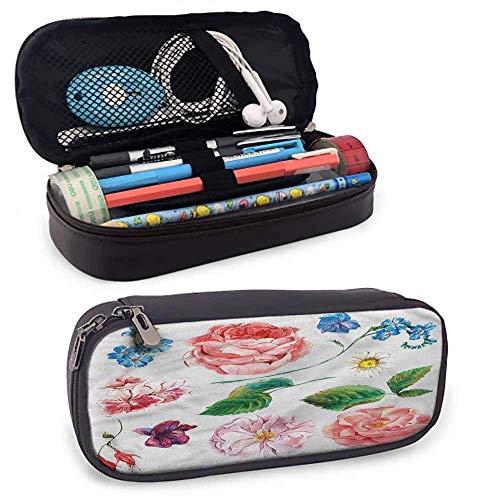 IOPLK Estuche de cuero para lápices con soporte de papelería, juego de ramo con rosa duradero 20 x 3.5 x 1.5 pies