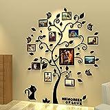 Asvert 3D Pegatina de �rbol Vinilos Hojas Negros 132 * 160 cm con 11 pcs Marcos de Foto Adhesivo Decorativo de Pared para Dormitorio Hogar Oficina