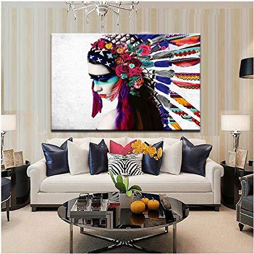 wZUN Gefiederte Mädchen Porträt Pop Art Leinwand Malerei Poster und Druckbild Wandbild für Wohnzimmer Wand Home...