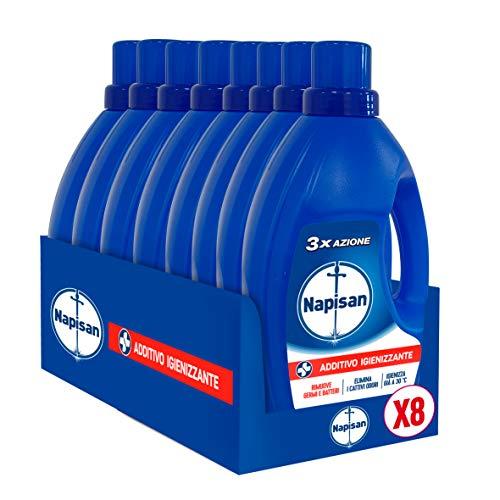 Napisan Additivo Igienizzante Lavatrice, Additivo Igienizzante Liquido per Bucato, 9.6 Litri, 8 Confezioni da 1.2 Litri