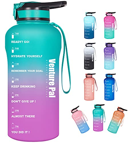 Venture Pal Large Half Gallon/64oz Motivational Water Bottle with Time Marker & Straw, Leakproof BPA Free Water Jug to Remind You Drink More Water, Hydrate in Style-Green/Purple Gradient
