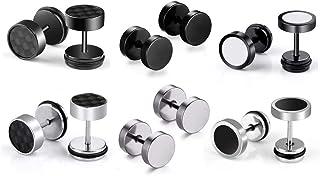 6 pares de pendientes de aro de acero inoxidable pendientes para hombres de las mujeres, pendientes de aretes sin alergia, plata negro