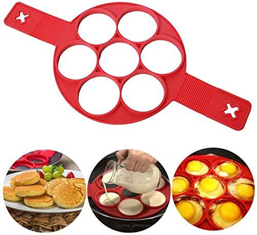 RainRider UK Stampi per Pancake in Silicone con 7 Fori, fissatore per frittate di Uova di Forma Rotonda per Risparmiare Tempo, Stampino per stampi per stampi per Uova (Rosso)