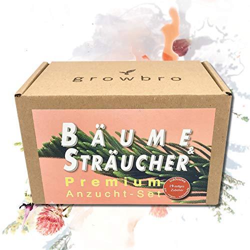 growbro Bäume & Sträucher 19-teiliges Premium Set Anzuchtset, Züchte Deine eigenen Bros (Bonsai Wisteria, Hopfen und Mimose), Bio, vegan, Handmade, personalisierte Geschenke für Männer & Frauen