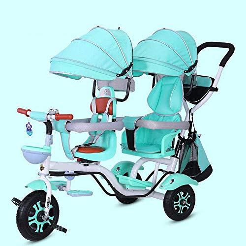 GST Triciclos Tricycle Doble Bike Doble Bike, Carro de Doble Asiento de Acero al Alto, Cochecito de bebé Durante 1-7 años, a (Color : B)