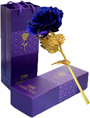TINYOUTH 24K Blue Rose Flower, Gold Dipped Rose 24K Forever Rose with Gift Box and Bag for Lover Mother Friends, Christmas Thanksgiving Wedding Anniversary Mother's Day Valentine's Day