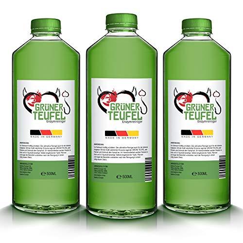 Grüner Teufel - Enzymreiniger 500ml [NEUE VERSION 2020]   Teppichreiniger, Küchenreiniger - Polsterreiniger - Allzweckreiniger   Ideal für Sofa, Auto, Sitze, Polster (3 Flaschen)