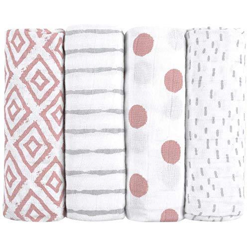 Muselinas para bebés de emma & noah, paquete de 4, 100% algodón, 80 cm x 80 cm, paños de muselina suaves para bebé, ideal como pañales de tela, paños de muletón, mantas de lactancia, doudo