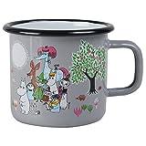 Muurla 1702-037-17 Moomin Emaille Becher Design -Garten- Grau, 3,7 dl