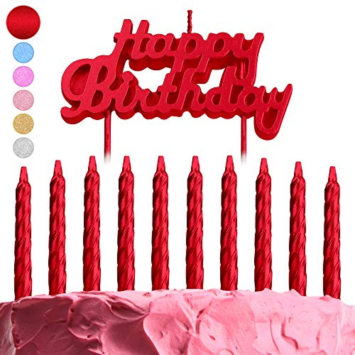 GET FRESH Red Birthday Cake Candles Set – 10-Pack Spiral Metallic Candles and Happy Birthday Letter Candles Cake Topper – Glitter B-Day Candles and Cake Decoration Candles – Red Birthday Candles