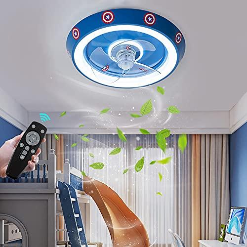 Ventilador De Techo Con Luz Silencioso LED Lámpara de techo Regulable para Habitación Infantil con Mando a Distancia Plafon de techo Creative Plafón de Luces para niño Dormitorio Bebe Habitación, Azul