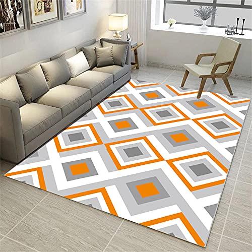 alfombras pie de cama Naranja Alfombra de estar Alfombra Naranja Cuadrado Geométrico Moderno Salón Alfombra Duradera alfombras infantiles lavables en lavadora 60x90cm alfombras de entrada 1ft 11.6''X2